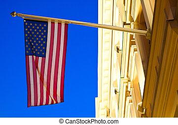 edificio, norteamericano, bandera