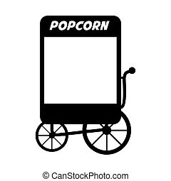 pop corn cart icon vector - pop corn cart fair circus food...