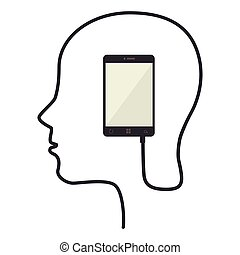 head smartphone connect icon vector - head smartphone...