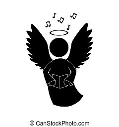 angel singing musical instrument icon vector - angel heaven...