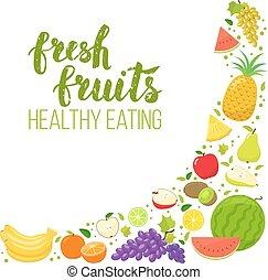 Corner frame of fruits