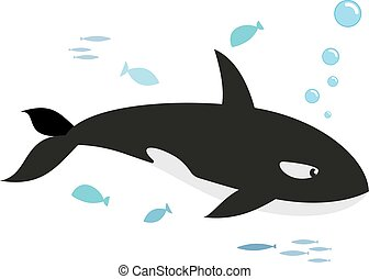 Orca and fishes, isolated on white background. Kiddy style...