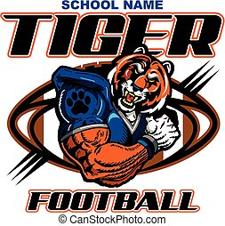 tiger football - muscular tiger football player team design...