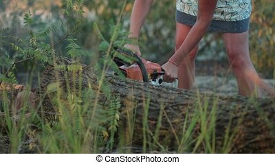 Woman with chainsaw cutting the trunk in forest - Woman in...