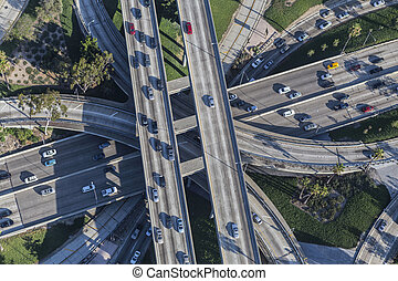 Los Angeles Downtown Four Level Interchange Aerial View -...
