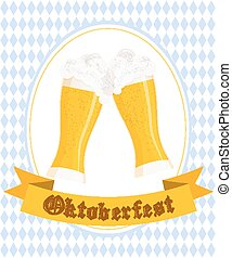 Vector illustration of hand drawn oktoberfest poster with two flat beer mugs on rhombic oktoberfest background