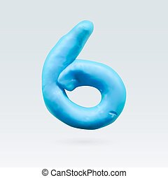 Color Plasticine Figure - Number Six Blue Color Isolated on...