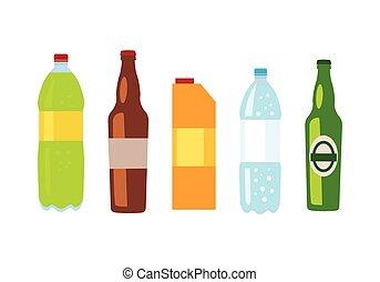 Beverages Banner. Set of Drinks in Bottles