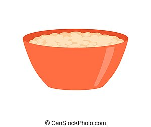Bowl with Porridge Isolated on White. Healthy Food - Bowl...