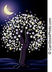 Decorative night tree wallpaper, vector illustration