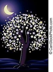 Decorative night tree wallpaper, vector illustration
