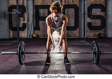 Girl getting ready for training - Girl getting ready for...