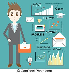 Web analytics, information and development, business statistic, conceptual. Vector