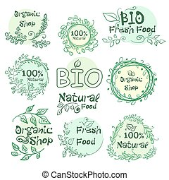 Set of logotypes elements hand-drawn bio, organic, natural food for your design. Vector