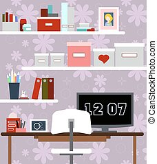 Workplace of girl with the desk, chair, books, watches and other items. Vector