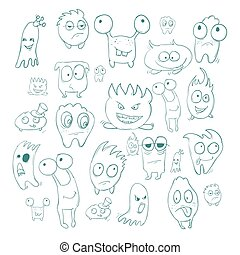 Contour funny monsters for Halloween holiday or  your design. It can be used  childrens books with fairy tales. Vector