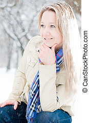 girl in winter street - young girl in snow in winter street...