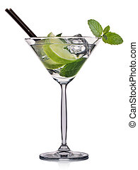 Mojito cocktail in martini glass isolated on white background