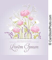 Composition with peonies, lavender and wild flowers. Card. Vector