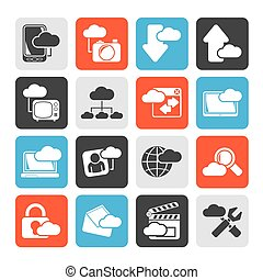 cloud services and objects icons - Silhouette cloud services...