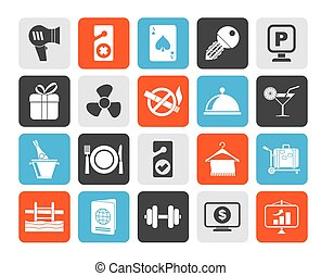 Hotel and motel services icons - Silhouette Hotel and motel...