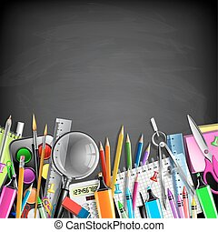 School Stationery Border On Blackboard