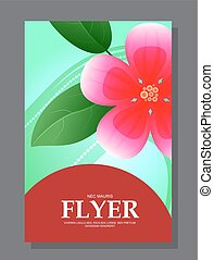 Red flowers on a flyer. Can be used as greeting cards or wedding invitation. Vector