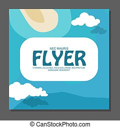 Flyer in flat style with a map of the island to travel and...