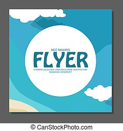 Flyer in flat style with a map of the island to travel and vacation on yacht  clouds in the sky. View from the birds flight. Vector