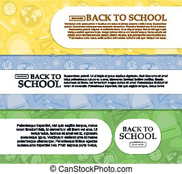Set of banners back to school with place for your text. Vector