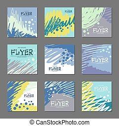 Collection of abstract postcards blue tones for your design. Hand-drawn vector illustration