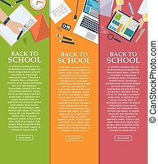 Set of banners back to school with place for your text in flat style. Vector