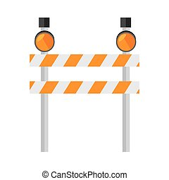 barrier warning lights sign icon vector - barrier precaution...