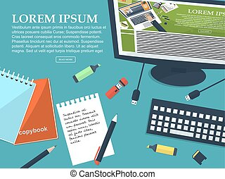 Working student table with place for your text. Flat background. Vector