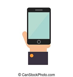 smartphone hand screen mobile icon vector - hand holding...