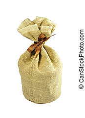 burlap sack - isolated little sack made of brown burlap