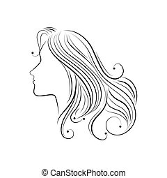 hair sketch woman face - hair sketch female side girl lady...