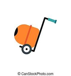 Concrete mixer icon, flat style - Concrete mixer icon in...