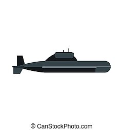 Submarine icon in flat style - icon in flat style on a white...