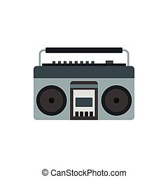 Boom box or radio cassette tape player icon - icon in flat...