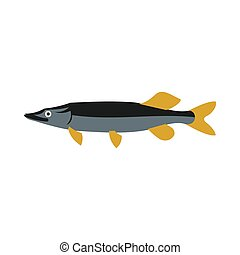 Pike icon, flat style - Pike icon in flat style isolated on...