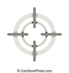 Crosshair reticle icon, flat style - icon in flat style on a...