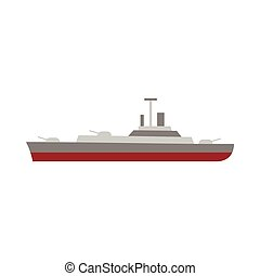 Military navy ship icon, flat style - icon in flat style on...