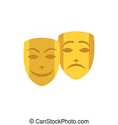 Gold comedy and tragedy theatrical masks icon - icon in flat...
