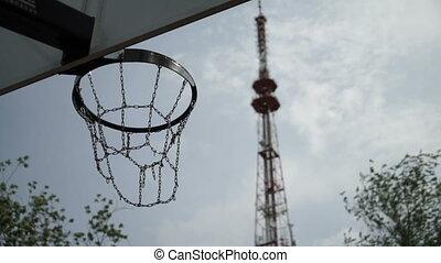 basketball on the sports ground - Basketball ball flies into...