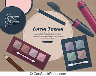 Set of female cosmetics on a table with place for your text. Vector