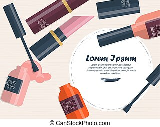 Composition with nail polish and lipstick on a table with place for your text. Vector