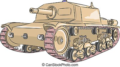 Vector. Tank M 42. - Italian self-propelled gun M42 yellow....