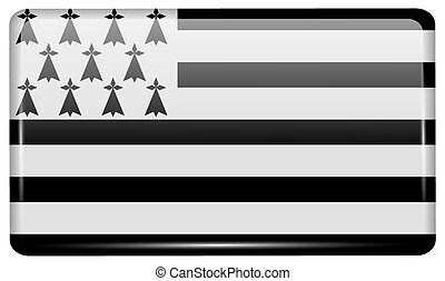 Flags Brittany in the form of a magnet on refrigerator with...
