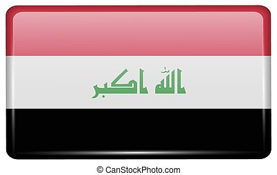 Flags Iraq in the form of a magnet on refrigerator with...